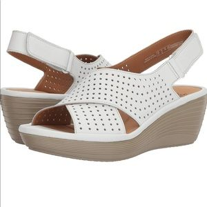 Clarks white perforated leather wedge sandals